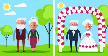 幸せな笑顔の祖父母。ラブストーリーロマンスコンセプト。ベクトルフラット漫画デザイングラフィックイラスト