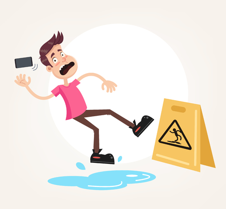 Inconsiderate man character do not see warning yellow sign and slips fall on wet floor. Recklessness folly concept element. Vector flat cartoon design graphic illustration