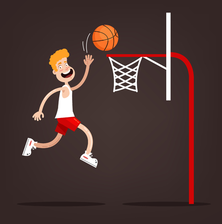 Sportsman character throw ball into basket ring. Basketball game concept. Vector flat cartoon design graphic illustration