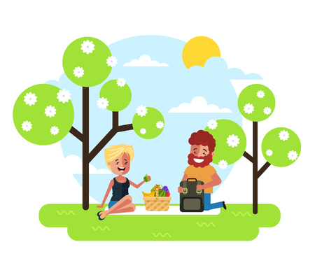 Happy smiling man woman character couple having dating picnic lunch meal eating on nature in park. Vacations countryside summer time. Vector flat cartoon graphic design illustration
