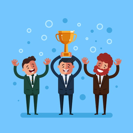 Happy smiling businessman office worker winner character holding golden cup. Successful business teamwork concept. Vector flat cartoon graphic design isolated illustration Illustration
