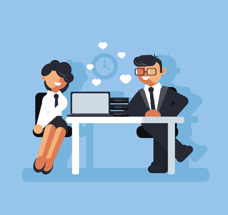 Dos empresarios. Concepto de romance corporativo. Ilustración aislada del diseño gráfico de la historieta plana del vector