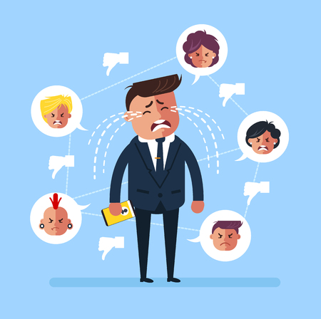 Sad businessman, office worker, man, receive, many, dislikes, thumbs down, sight, symbol, and, crying with, tears. Social network media. Vector flat cartoon graphic design isolated illustration