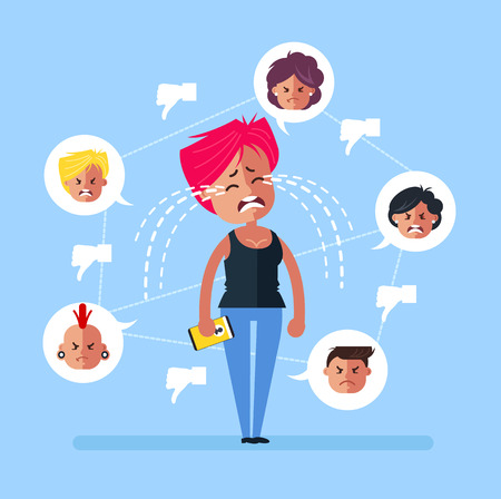 Sad teen woman girl character receive many dislikes thumbs down sight symbol and crying with tears. Social network media. Vector flat cartoon graphic design isolated illustration