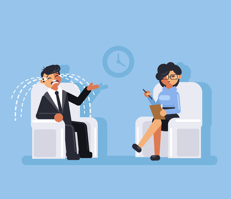 Businessman office worker man character sitting on professional psychologist woman. Mental health help concept. Vector flat cartoon graphic design isolated illustration Illustration