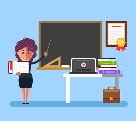 Happy smiling teacher in a classroom near blackboard and conduct lesson lecture. Education school university college concept. Vector flat cartoon graphic design isolated illustration Illustration
