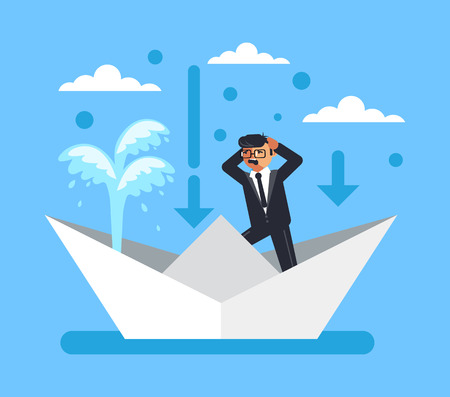 Panic man character. Business fail company finance disaster concept. Vector flat cartoon graphic design isolated illustration Illustration