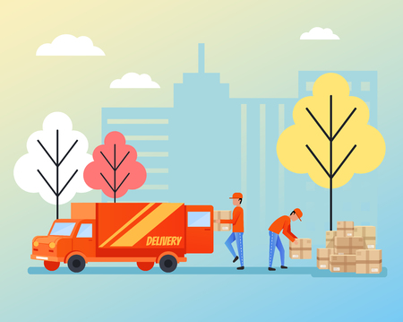 Warehouse workers stevedores characters loading and unloading boxes parcel from warehouse. Delivery logistic concept. Vector flat cartoon isolated illustration Illustration