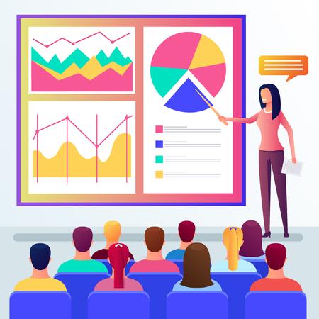Business woman teacher auditor speaker talking presenting lecture. Public motivational presentation project. Vector flat cartoon graphic design illustration Ilustración de vector