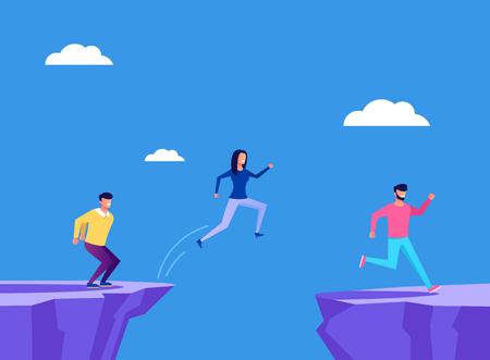 Brave people businessmen. Business strategy concept. Vector flat cartoon graphic design illustration Ilustração