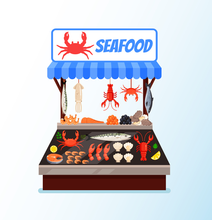 Fish seafood street store market full of fresh meat. Vector flat cartoon graphic design isolated illustration