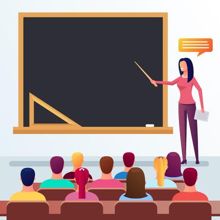 Happy smiling young teacher professor teaching university students and explanation. Education concept. Vector flat cartoon graphic design isolated illustration Ilustração