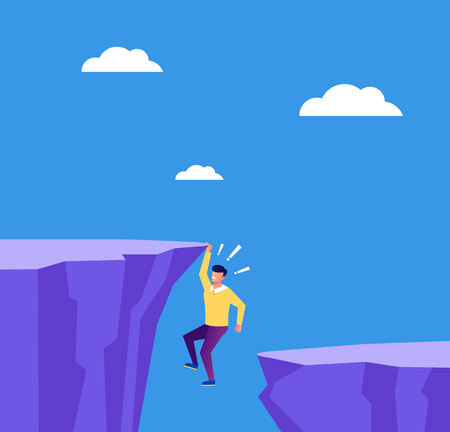 Businessman entrepreneur character hold on cliff. Business career finance fail concept. Vector flat cartoon graphic design isolated illustration Иллюстрация