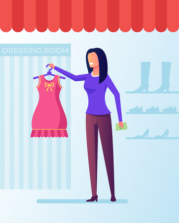 Happy woman shopaholic Shopping consuming concept. Vector flat cartoon graphic design isolated illustration Illustration