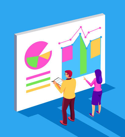 Business people entrepreneur writing financial project report. Business strategy concept. Vector flat cartoon graphic design isolated illustration
