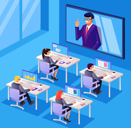 Supervisar la discusión del administrador del carácter de los trabajadores de oficina de la gente de negocios del Internet de la televisión Tecnología del seminario en línea. Ilustración aislada del diseño gráfico de la historieta plana del vector Ilustración de vector