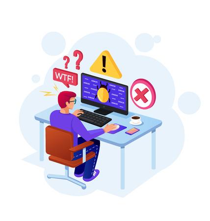 Zaloguj się na monitorze ekranu. Koncepcja ochrony danych osobowych online. Wektor płaskie kreskówka na białym tle projekt graficzny ilustracja