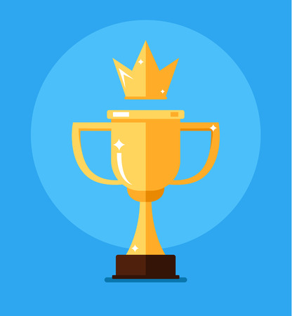 Golden cup and gold crow. First place number one champion concept. Vector flat cartoon isolated icon illustration