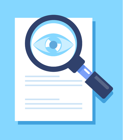 Magnifier glass eye isolated icon. Internet searching information data concept. Vector flat cartoon isolated illustration Ilustração
