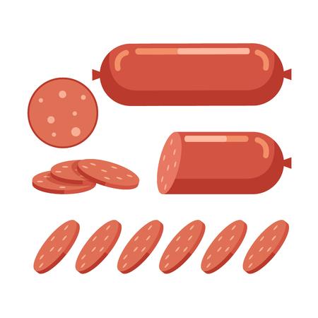 Cut sausage slices piece. Fresh meat concept. Vector flat cartoon design graphic illustration icon