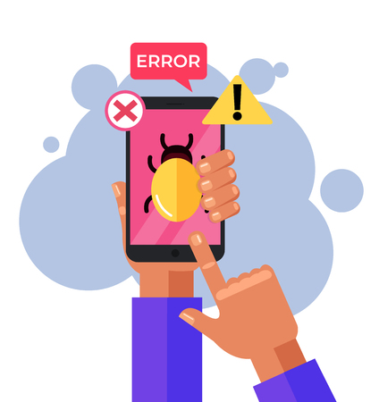 Hand holding infected with bug smartphone. Mobile malware, spam messages, fraud concept. Vector flat cartoon design graphic isolated illustration