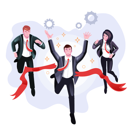 Office worker businessman Team competition corporate concept. Vector flat cartoon graphic design illustration