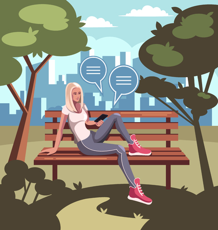 Young woman student character sitting on a bench in a park. Modern communication technology. Vector flat cartoon graphic design isolated illustration Illustration