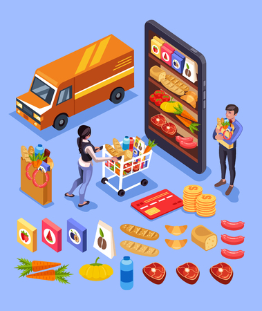 Online shopping. Online shopping goods e commerce icon set. Vector flat cartoon graphic design isometry illustration