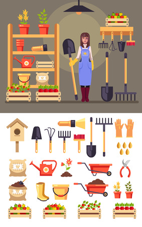 Happy smiling woman gardener character Agriculture farming icon set concept. Vector flat cartoon graphic design isolated illustration