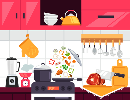 Food cooking frying vegetable on modern kitchen interior menu. Culinary household concept. Vector flat cartoon graphic design illustration Illustration