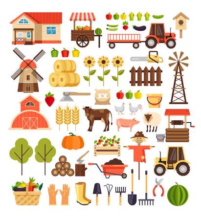 Agriculture, agriculture, récolte, nature, agronomie, conception, graphique, plat, dessin animé, signe, symbole, icône, isolé, ensemble
