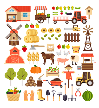 Agriculture farming harvesting nature agronomy design graphic flat cartoon sign symbol icon isolated set