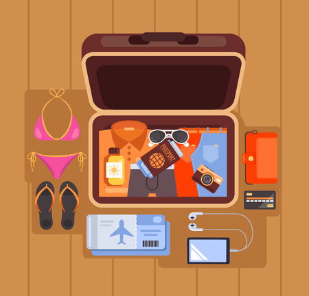 Tourist open case. Summer time traveling vacation concept. Vector flat cartoon isolated graphic design illustration Stock Illustratie
