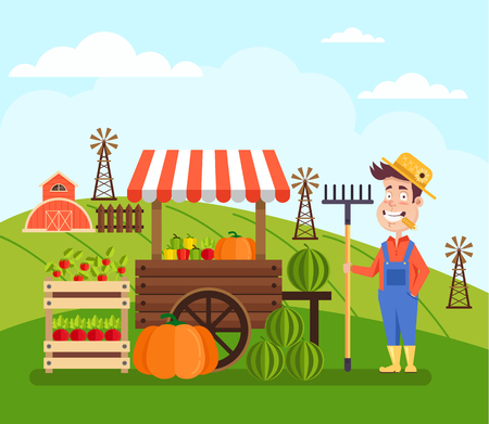 Happy seller and seller of fruits and vegetables. Farm agriculture concept. Vector flat cartoon design graphic banner illustration