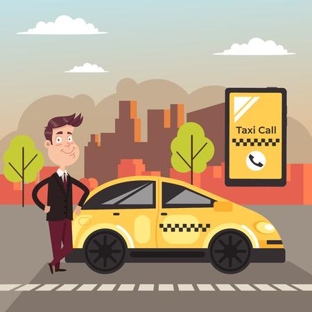 Car driver waiting for you. Taxi call internet online service concept. Vector flat cartoon design graphic banner illustration Standard-Bild - 120897354