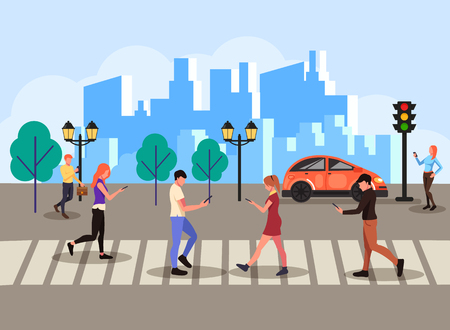 Group of people texting messages online through smartphone and laptop across pedestrian. Technology communication concept. Vector flat cartoon isolated banner poster illustration