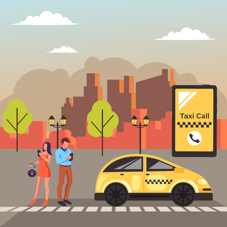 Two people waiting for taxi cab. Online application city urban transport concept. Vector design graphic flat cartoon illustration Vectores