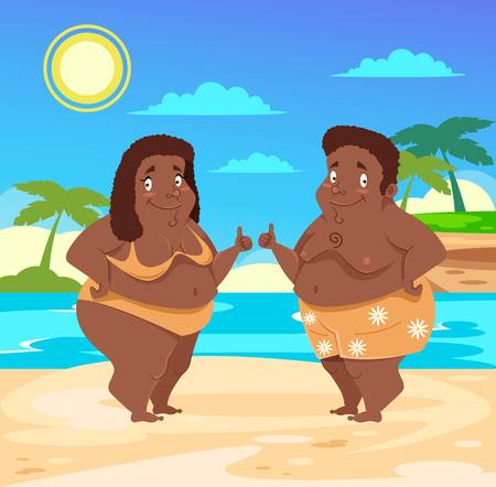 Two people are tourist Body positive travel vacation concept. Vector flat graphic design isolated illustration