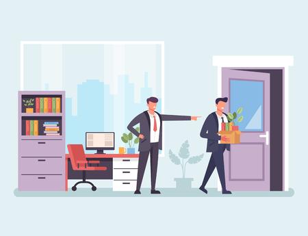 Homme d'affaires d'employé de bureau de patron bouleversé en colère Problèmes de travail concept de chômage. Illustration de conception graphique de dessin animé plat de vecteur