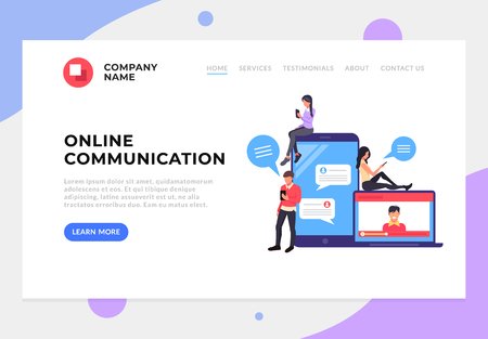 Group of people texting messages online by laptop. Technology communication web page concept. Vector flat cartoon isolated banner poster illustration Иллюстрация