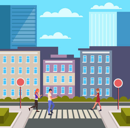 Personas peatones cruzando la calle. Concepto de escena urbana de la ciudad de la ciudad. Ilustración aislada de dibujos animados planos gráficos de diseño vectorial
