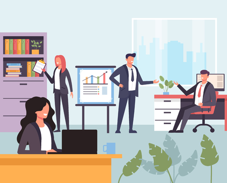 Businessmen office workers men and women working together. Office abstract life concept. Vector design graphic flat cartoon isolated illustration