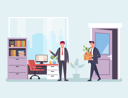 Business man office worker character get new job. Hiring human resources finding work concept. Vector design graphic flat cartoon isolated illustration Ilustração