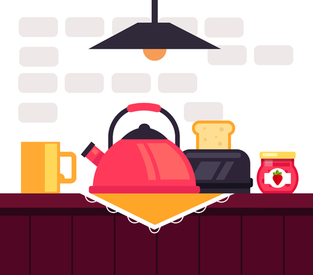Toast with hot coffee. Traditional morning breakfast. Vector flat graphic design illustration