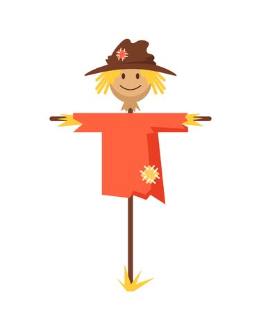 Happy smiling scarecrow character. Vector flat cartoon graphic design banner poster concept Banque d'images - 120897644