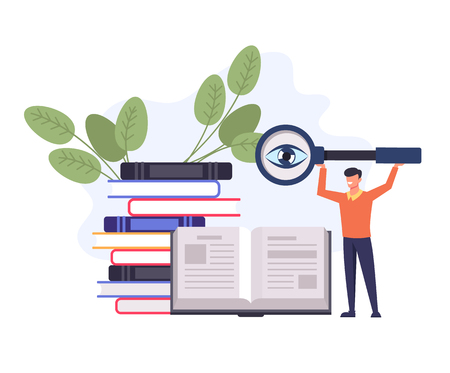 Student man character searching knowledge. Education learning concept. Vector flat cartoon design graphic isolated illustration Ilustração