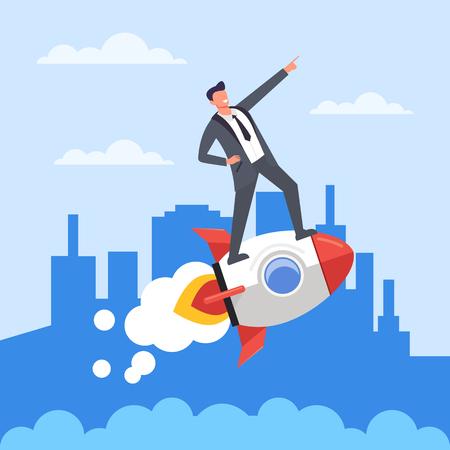 Employé de bureau d'homme d'affaires prospère chevauchant une fusée volante. Démarrez un nouveau concept d'entreprise. Graphique de conception de dessin animé plat de vecteur isolé Vecteurs