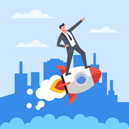 Successful businessman office worker riding a flying rocket. Start up new business concept. Vector flat cartoon design graphic isolated