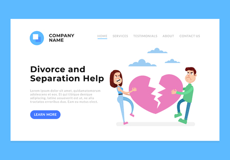 Professional help for devours separation property. Web site internet page template concept. Vector flat cartoon design graphic isolated illustration Illustration