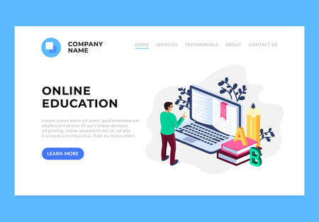 Online education library concept web page site banner concept. Vector flat cartoon design graphic isolated illustration